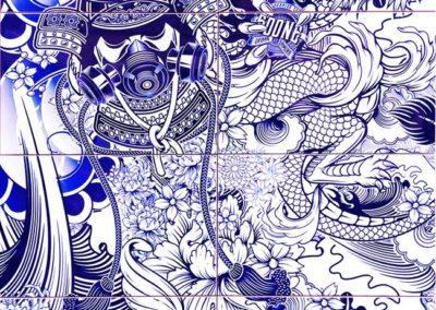 BSoone-Yakuza-Blue-Red-encre-emaillée-sur-8-carreaux-de-céramique-84-x-65-cm-courtesy-Adda-&-Taxie-Gallery